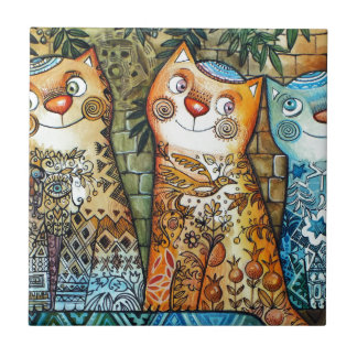 Jerusalem cats small square tile