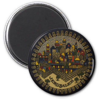 Jerusalem Ceramic 6 Cm Round Magnet