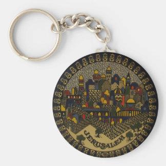 Jerusalem Ceramic Basic Round Button Key Ring