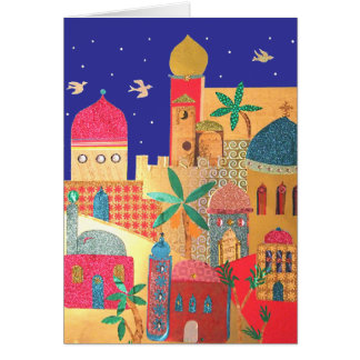 Jerusalem City Colorful Art Card