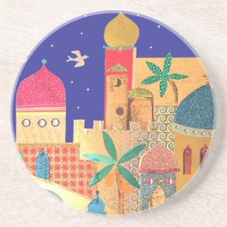 Jerusalem City Colorful Art Coaster