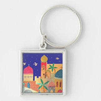 Jerusalem City Colorful Art Key Ring