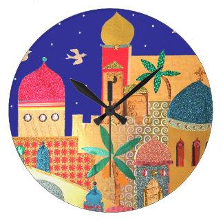 Jerusalem City Colorful Art Large Clock
