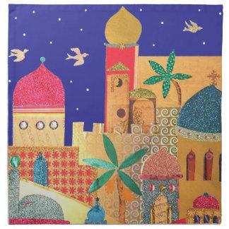 Jerusalem City Colorful Art Napkin