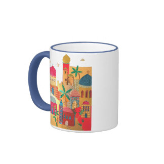 Jerusalem City Colorful Art Ringer Mug