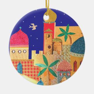 Jerusalem City Colorful Art Round Ceramic Decoration