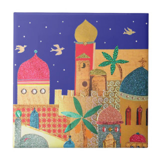 Jerusalem City Colorful Art Small Square Tile