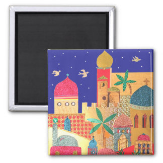 Jerusalem City Colorful Art Square Magnet