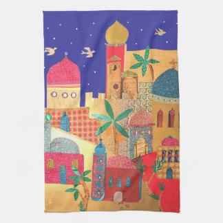 Jerusalem City Colorful Art Tea Towel
