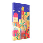 Jerusalem City Colourful Art Stretched Canvas Print