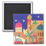 Jerusalem City Colourful Art Square Magnet
