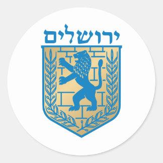 Jerusalem coat of arms - Oficial Shield Round Sticker