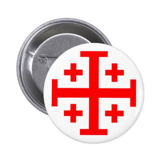 Jerusalem Cross 6 Cm Round Badge