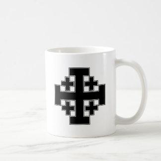 Jerusalem Cross Black Basic White Mug