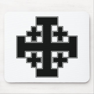 Jerusalem Cross Black Mouse Mat