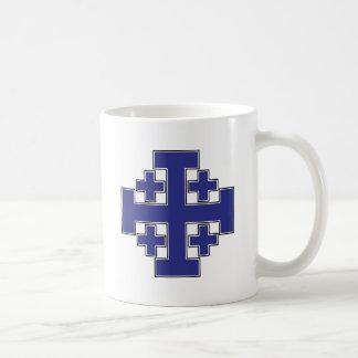 Jerusalem Cross Blue Basic White Mug