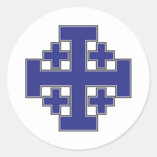 Jerusalem Cross Blue Classic Round Sticker
