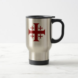 Jerusalem Cross, Distressed Stainless Steel Travel Mug