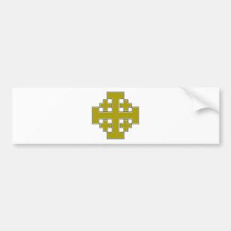 Jerusalem Cross Gold Bumper Sticker