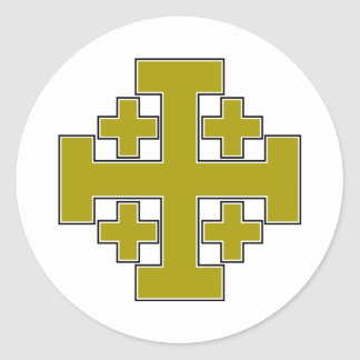 Jerusalem Cross Gold Classic Round Sticker
