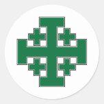 Jerusalem Cross Green Stickers