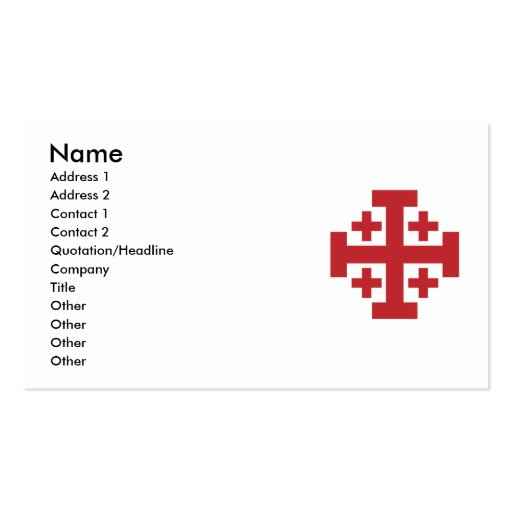 Collections of catholic business cards page2 jerusalem cross in simple red business card templates colourmoves