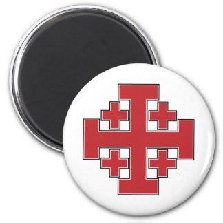 Jerusalem Cross Red 6 Cm Round Magnet