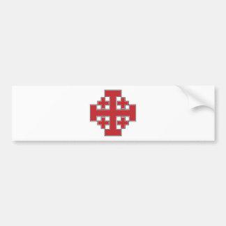 Jerusalem Cross Red Bumper Sticker
