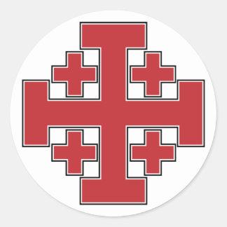 Jerusalem Cross Red Round Sticker