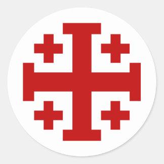 Jerusalem Cross Round Sticker