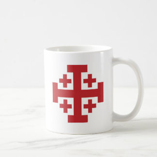 Jerusalem Cross simple red Basic White Mug