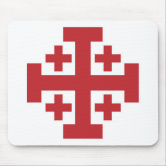 Jerusalem Cross simple red Mouse Mat