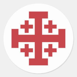Jerusalem Cross simple red Round Sticker