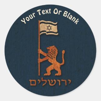 Jerusalem Day Lion With Flag Classic Round Sticker