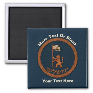 Jerusalem Day Lion With Flag Square Magnet