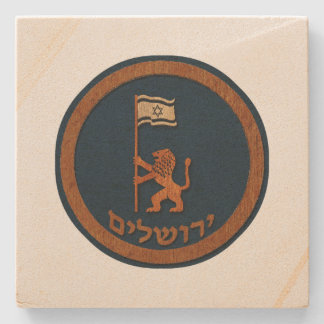 Jerusalem Day Lion With Flag Stone Coaster