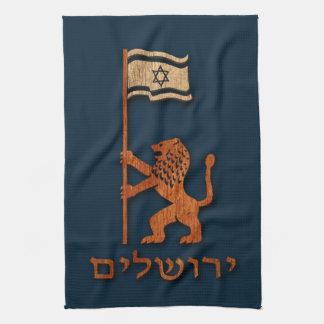 Jerusalem Day Lion With Flag Tea Towel