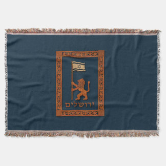 Jerusalem Day Lion With Flag Throw Blanket