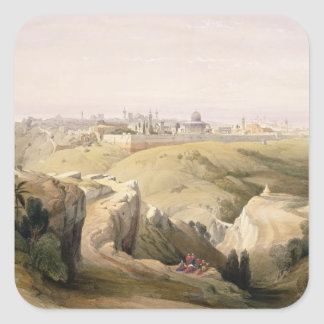 Jerusalem from the Mount of Olives, April 8th 1839 Square Sticker