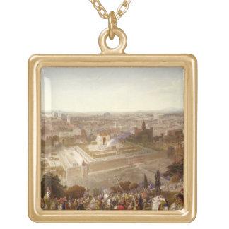 Jerusalem in her Grandeur, engraved by Charles Mot Gold Plated Necklace