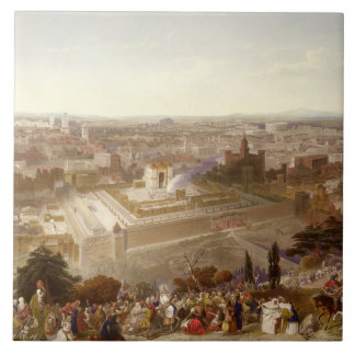 Jerusalem in her Grandeur, engraved by Charles Mot Large Square Tile