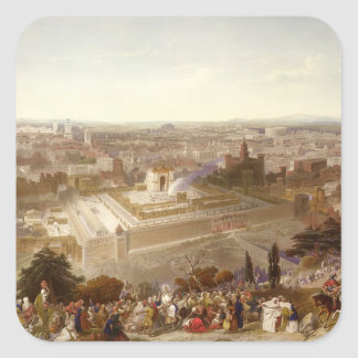 Jerusalem in her Grandeur, engraved by Charles Mot Square Sticker