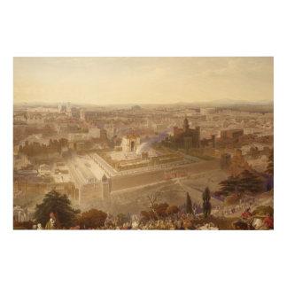 Jerusalem in her Grandeur, engraved by Charles Mot Wood Canvas
