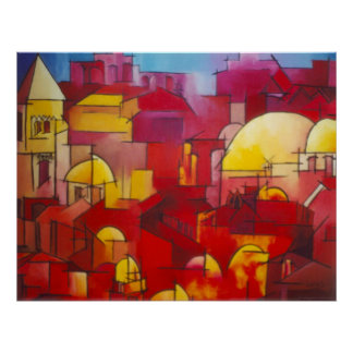 Jerusalem In Red Poster