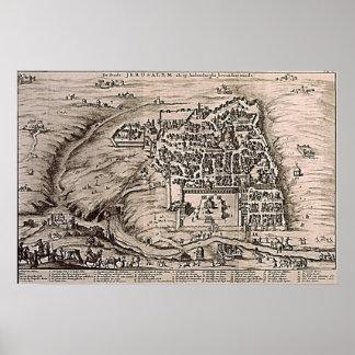 Jerusalem Map Vintage Illustration Poster
