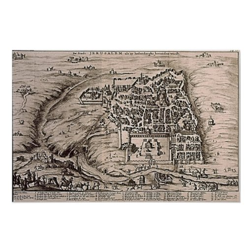 Jerusalem Map Vintage Illustration Poster
