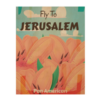 Jerusalem Vintage Travel Poster Wood Canvas