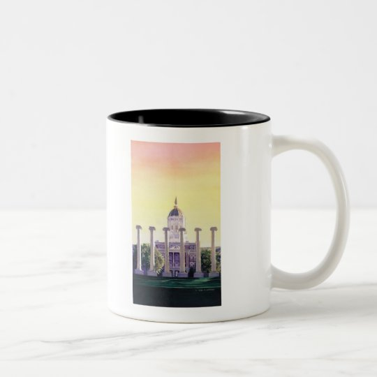 """Jesse Hall"" University of Missouri Watercolor Two-Tone Coffee Mug"