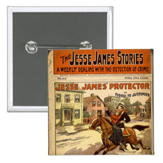 Jesse James Outlaw Bank Robber Comic Book 15 Cm Square Badge