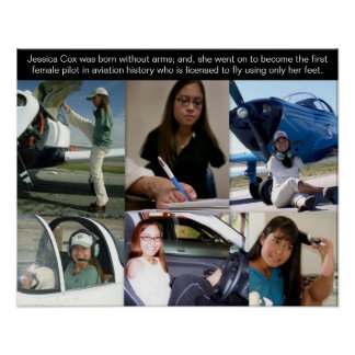 Jessica Cox - First Pilot 2 Fly Airplane With Feet Print